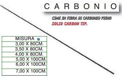 Cima in Carbonio Solido Ricambio Canna da Pesca Varie Lunghezze e Diametri CSP